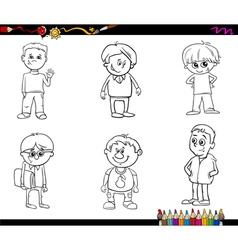 Kid boys set coloring book vector