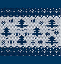 Knit xmas geometric ornament with christmas trees vector