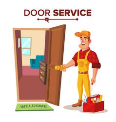 Locksmith repairman unlock the door vector