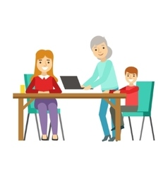 Mother kid and grandma using computer happy vector
