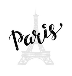 paris trendy card design with hand drawn lettering vector image vector image