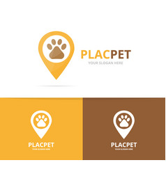 Paw and map pointer logo combination pet vector