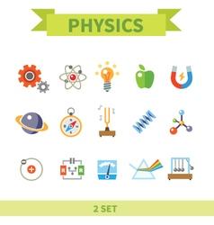 Physics flat con set vector image