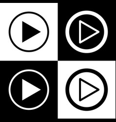 Play sign black and white vector