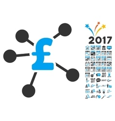 Pound Distribution Icon With 2017 Year Bonus vector image vector image