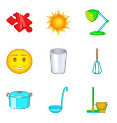 Prepare baby food icons set cartoon style vector