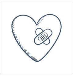 Repaired with patches heart isolated on white vector image vector image