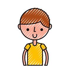 Scribble upper body boy cartoon vector