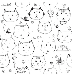 Seamless texture made with ink cats faces drawn vector image