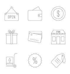 Shop icons set outline style vector