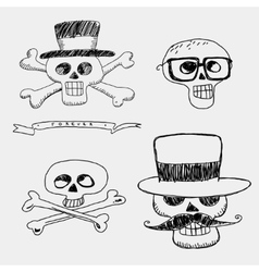 Skulls in the hat with mustache and glasses vector