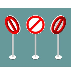 Stop sign isometry Prohibition road sign vector image