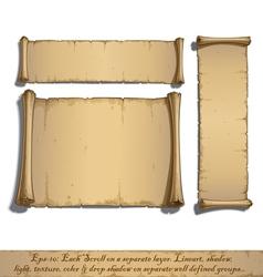 Three cartoon scrolls lying flat vector