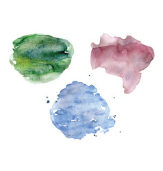 Watercolor spots set pastel colors vector