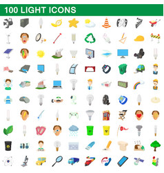 100 light icons set cartoon style vector