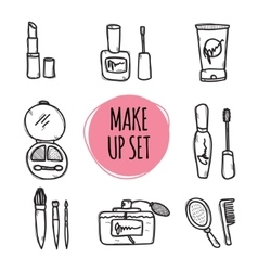 Cute hand drawn collection of cosmetics objects vector image
