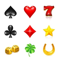 Gambling and luck icon set vector