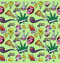 seamless pattern with drugs psychedepic elements vector image