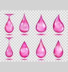 Transparent pink drops vector