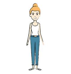 Beautiful woman standing avatar character vector