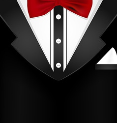 Business tuxedo background with a red bow tie vector image