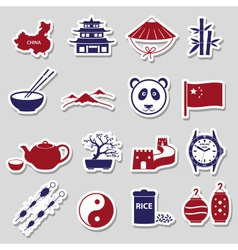 China theme color stickers set eps10 vector image