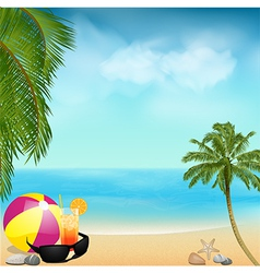 Summer beach background with palms and ball vector