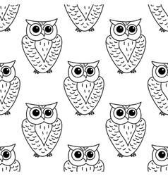 Horned owl seamless background pattern vector