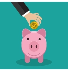 Buisness man hand put gold coin in pink piggy vector