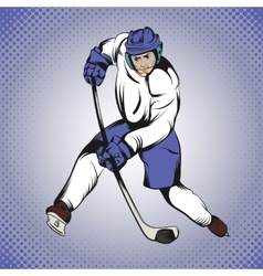Comics hockey player vector