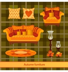 Great set of furniture in the autumn style vector