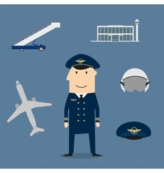 Pilot profession and aviation icons vector