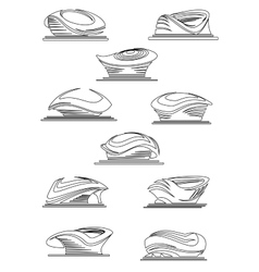 Sports stadium and arena thin line icons vector