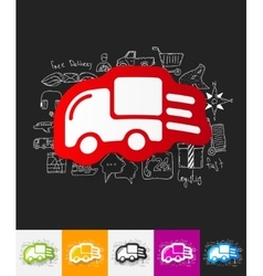 delivery paper sticker with hand drawn elements vector image