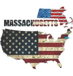 Usa state of massachusetts on a brick wall vector