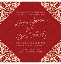 wedding invitation red vector image
