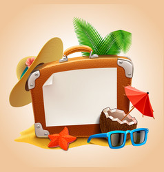 Advertisement on travel suitcase vector