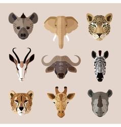 Animal portrait flat icon set vector image vector image