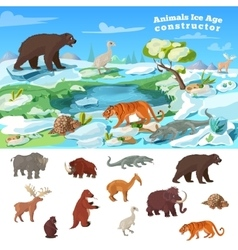 Animals ice age concept vector