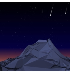 Blue Mountain low polygon landscape night vector image