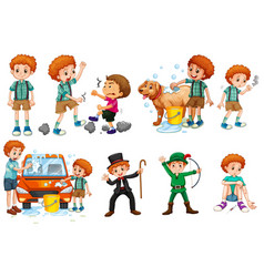Boy in different actions vector