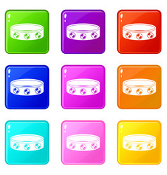 Bracelet with gems icons 9 set vector