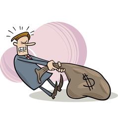 businessman draging sack of dollars vector image vector image
