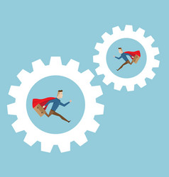 businessman running in cog gear wheels vector image