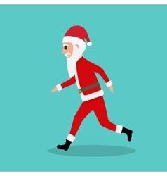 Cartoon santa claus runs to children at christmas vector