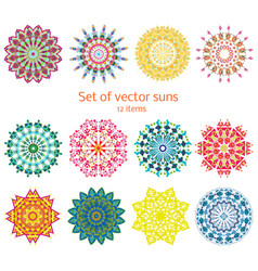 Colorful ornamental decorative summer suns set vector