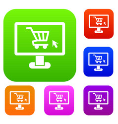 Computer monitor with shopping cart set collection vector