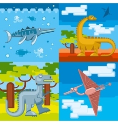 Dinosaur prehistoric concept backgrounds set in vector