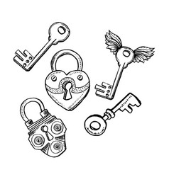 door locks or latch and keys in sketch style vector image