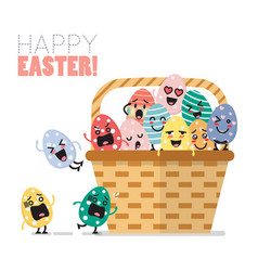 Easter eggs character in basket vector